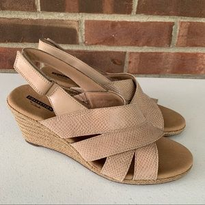 Clarks Nude Leather Espadrille Wedge Sandals